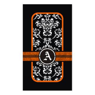 Black white damask orange band monogram pack of standard business cards