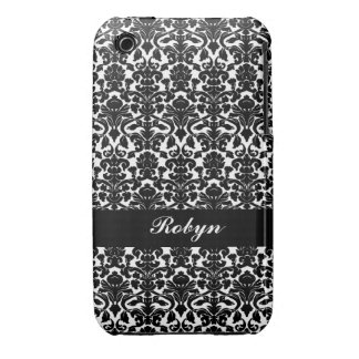Black white damask pattern custom name personal iPhone 3 Case-Mate cases