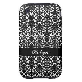 Black white damask pattern custom name personal iPhone 3 tough cases