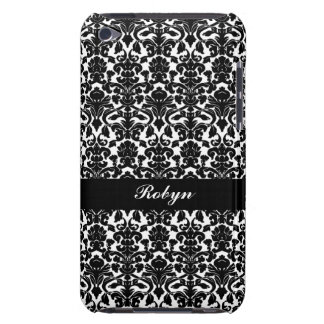 Black white damask pattern custom name personal Case-Mate iPod touch case