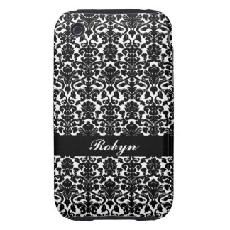 Black white damask pattern custom name personal iPhone 3 tough cases