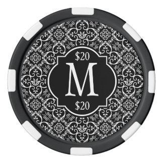 Black & White Damask Pattern Monogram Poker Chips