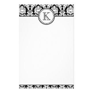 Black White Damask Pattern Monogram Custom Stationery
