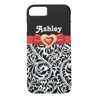 Black white damask pattern & red bow and jewel iPhone 8/7 case