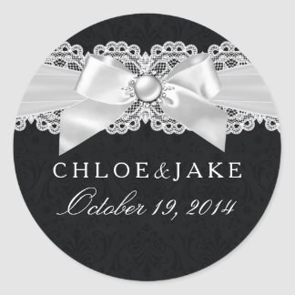 Black & White Damask & Pearl Bow Sticker