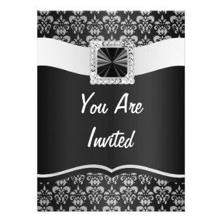 Black white damask personalized invite