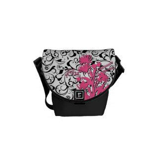 Black white damask pink floral mini messenger bag