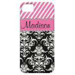 Black & White Damask / Pink Stipes Rhinestone Case Case For The iPhone 5
