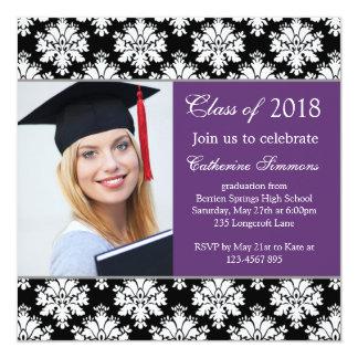 Black white damask, purple Graduation Party Card