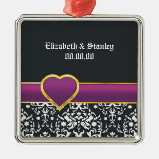 Black white damask purple heart Save the Date Square Metal Christmas Ornament