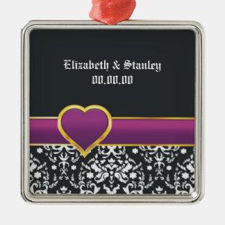 Black white damask purple heart Save the Date Silver-Colored Square Decoration