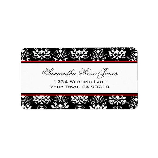 Black & White Damask Red Accent Elegant Address Address Label