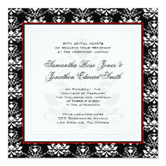 Black & White Damask Red Accent Wedding Invitation