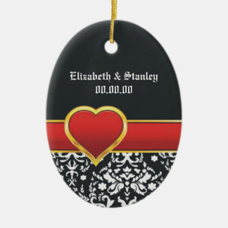 Black white damask red heart wedding Save the Date Ornament