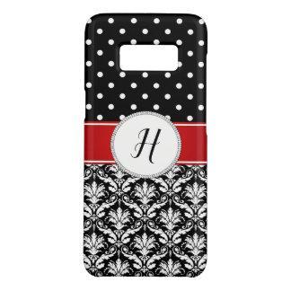 Black White Damask Red Monogram Galaxy Case-Mate Samsung Galaxy S8 Case