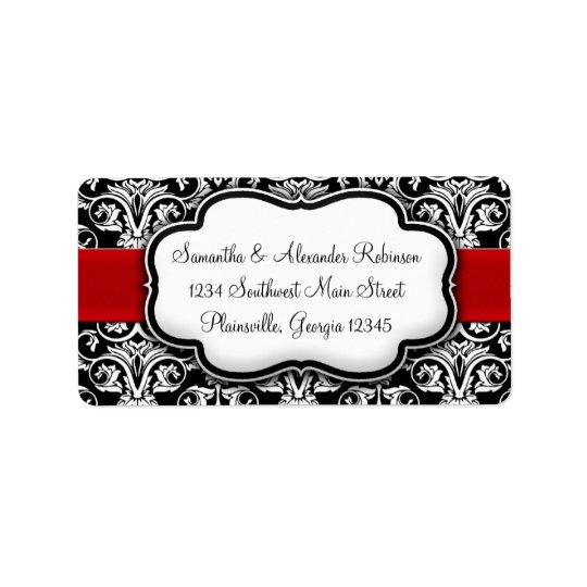 Black/White Damask Red Ribbon Label