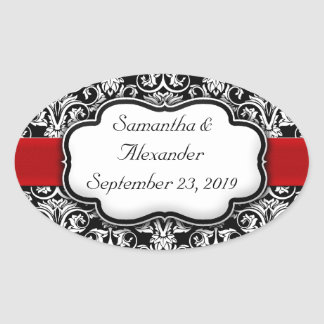 Black/White Damask Red Ribbon Oval Sticker