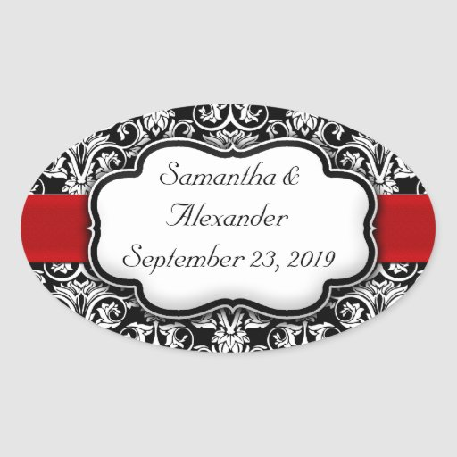 Black/White Damask Red Ribbon Oval Stickers
