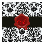 BLACK & WHITE DAMASK, RED WAX SEAL MONOGRAM Ice Personalised Announcement