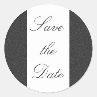 Black & White Damask Save the Date Sticker/Seal Round Sticker