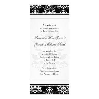 Black & White Damask Slim Wedding Invitation