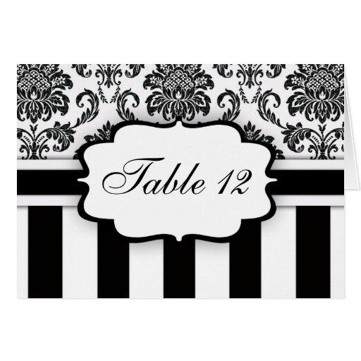 Black White Damask Stripe Table Number Greeting Card