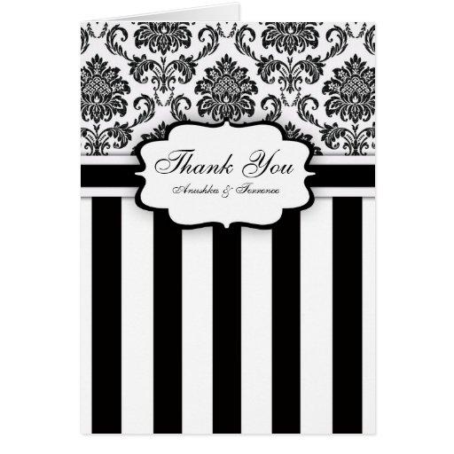 Black White Damask Stripe Wedding Thank You Cards