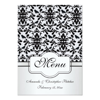 Black white damask swirls, birds Menu Invitation