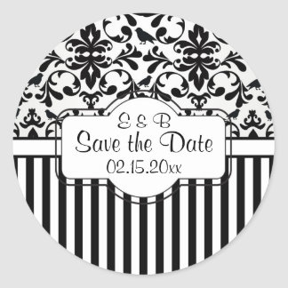 Black white Damask swirls, stripes Save the Date Classic Round Sticker