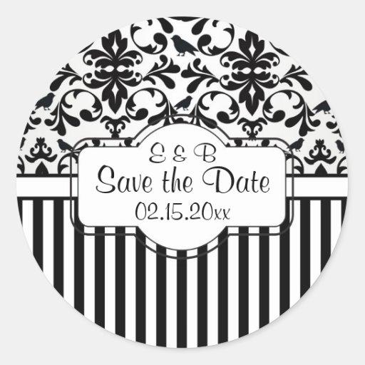 Black white Damask swirls, stripes Save the Date Round Stickers