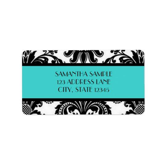 Black & White Damask, Turquoise Address Label