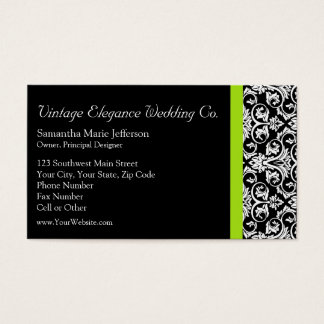 Black/White Damask w/Chartreuse Green Accent Strip Business Card