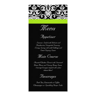 Black/White Damask w/Chartreuse Green Accent Strip Personalised Rack Card