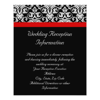 Black/White Damask w/ Ravishing Red Accent 11.5 Cm X 14 Cm Flyer