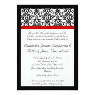 Black/White Damask w/ Ravishing Red Accent 13 Cm X 18 Cm Invitation Card
