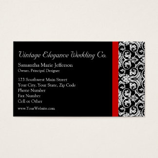 Black/White Damask w/ Red Accent Fashion Business Business Card