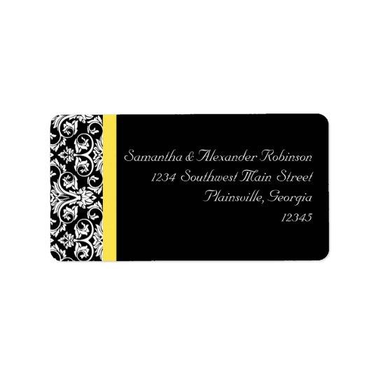 Black/White Damask w/Vibrant Yellow Address Label