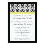 Black/White Damask w/Vibrant Yellow Custom Invitation