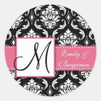 Black White Damask Wedding Favour Sticker Pink