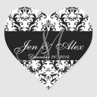 Black White Damask Wedding Favour Stickers