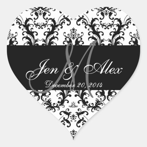 Black White Damask Wedding Favour Stickers