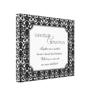 Black white damask wedding personalized canvas art