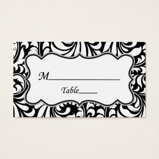 Black White Damask Wedding Place Cards Elegant