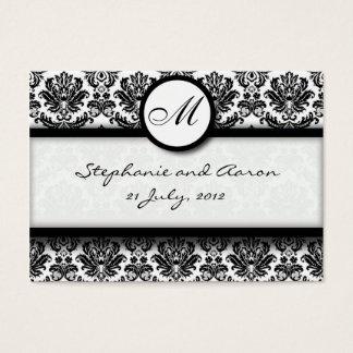 Black & White Damask Wedding Website Business Card