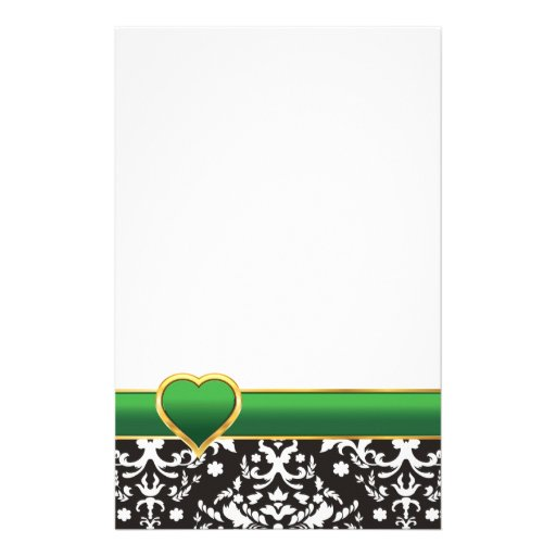 Black white damask with green band and heart stationery paper