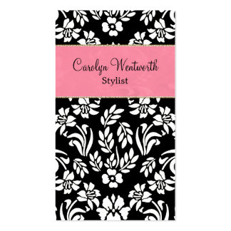Black White Damask with Pink Business Card