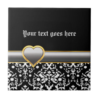 Black white damask with silver grey band and heart ceramic tile
