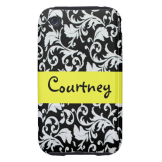 Black & White damask with Yellow Tough iPhone 3 Cover
