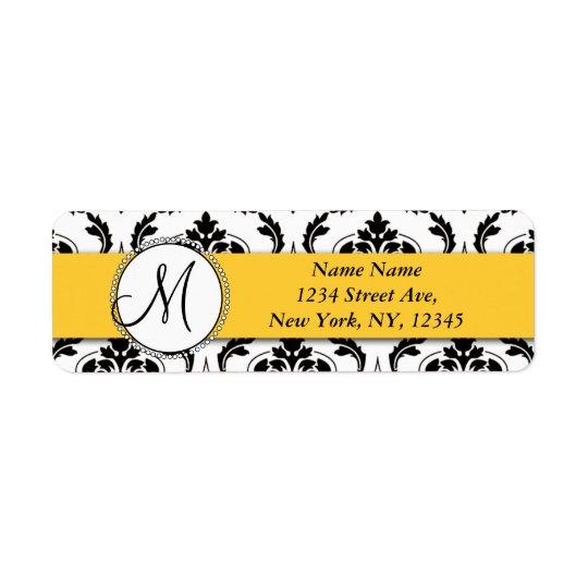 Black White Damask Yellow Return Address Return Address Label
