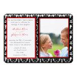 Black & White Damask Your Photo Wedding Invitation